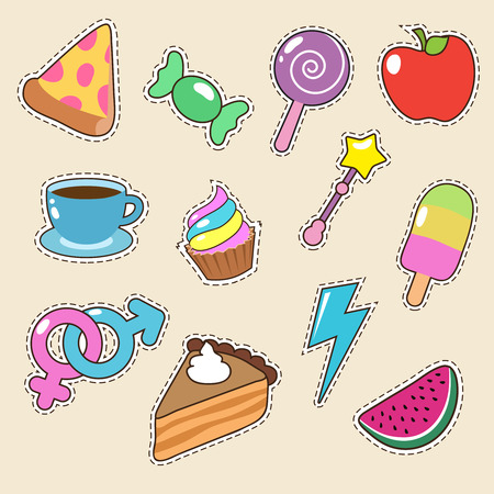Fruit, pizza, coffee and candy stickers vector icons. Girl fashion patches collection Illustration