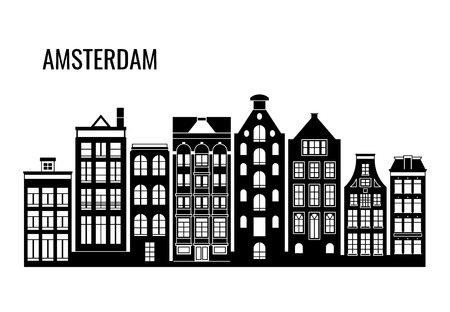 Row of old typical amsterdam houses vector silhouettes