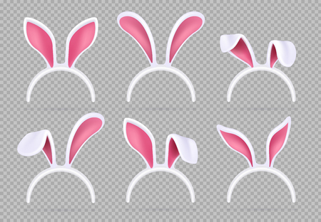 Isolated realistic rabbit ears. Funny easter bunny vector masks. Illustration of animal costume rabbit ears