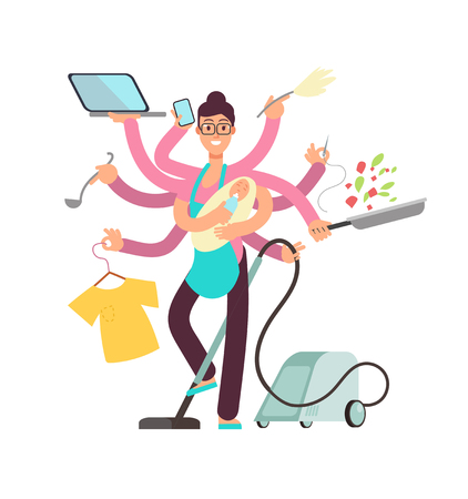 Super busy mother working and cooking simultaneously vector concept