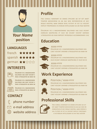 Modern flat male resume tempate with design elements