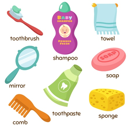 Cartoon bathroom accessories vocabulary vector icons. Mirror, towel, sponge, toothbrush and soap
