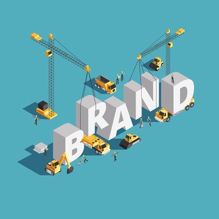 Concepto de vector isométrico 3d de construcción de edificios de marca con maquinaria de construcción y trabajadores Ilustración de vector