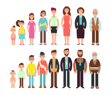 Stages of growth people. Children, teenager, adult, old man and woman vector characters set