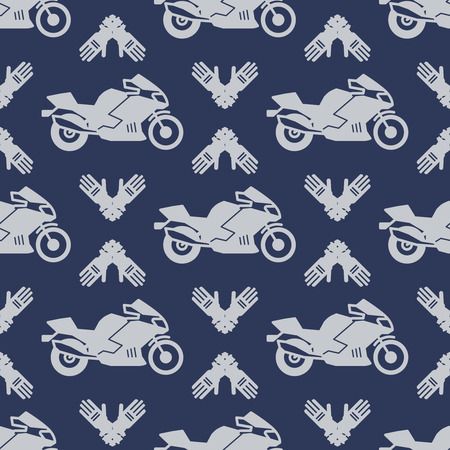 Motor sport seamless pattern with motocycle Illustration