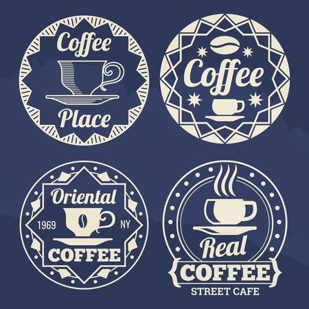 카페, 상점, 시장을위한 세련된 커피 레이블 벡터 디자인