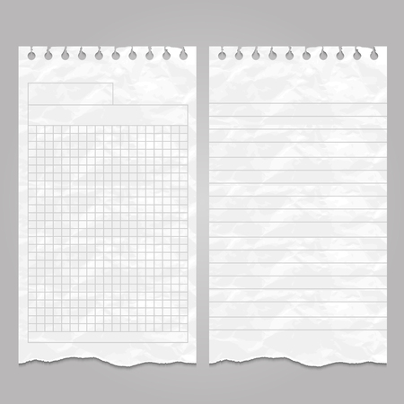 Wrinkled ripped lined page templates for notes or memo