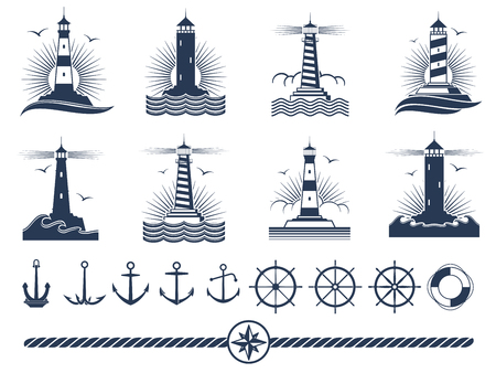 Nautical logos and elements set - anchors lighthouses rope Vectores