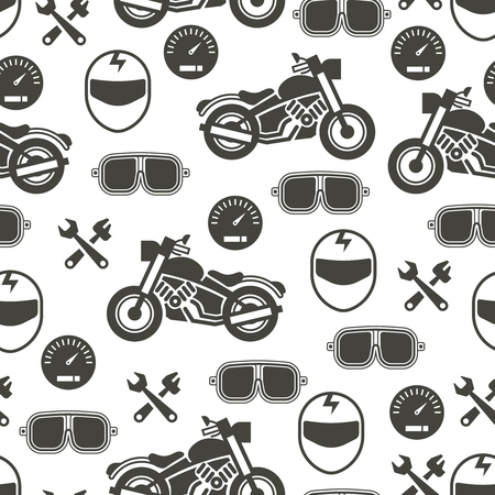 Pattern with motorcycle speed - moto seamless pattern