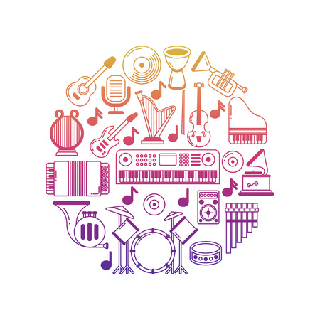 Bright vector music poster with musical instruments icons Çizim