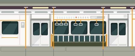 Empty subway train inside view. Metro carriage vector interior