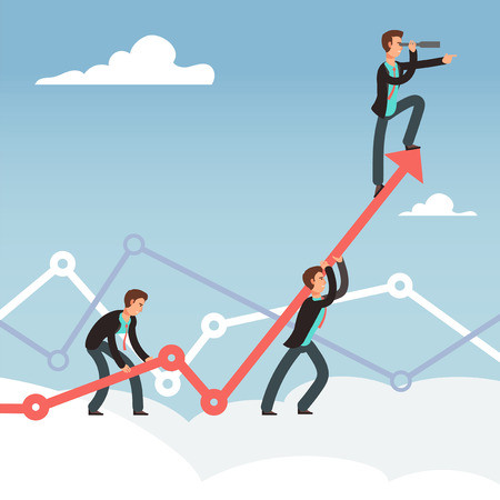 Corporate team effort for business growth with office workers and arrows in cloud vector concept