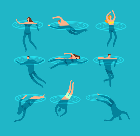 Swimming and diving people in swimming pool cartoon vector illustration