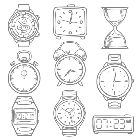 Hand drawn wrist watch, doodle sketch watches, alarm clocks and timepiece vector set