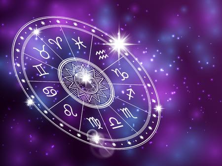 Círculo del horóscopo sobre fondo brillante - telón de fondo del espacio con círculo de astrología blanco Ilustración de vector