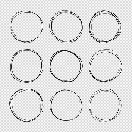 Doodle sketched circles. Hand drawn scribble rings isolated vector set Ilustração