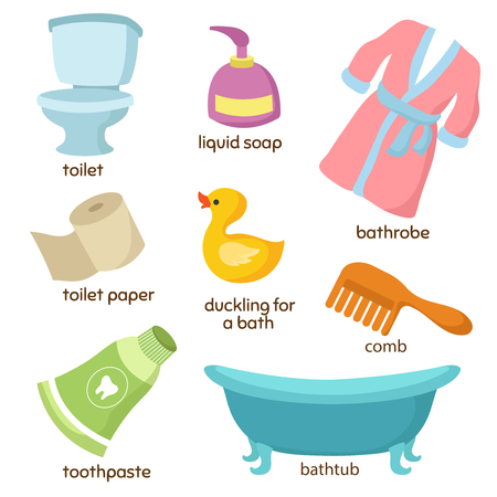 Cartoon bathroom vector equipments set. Иллюстрация