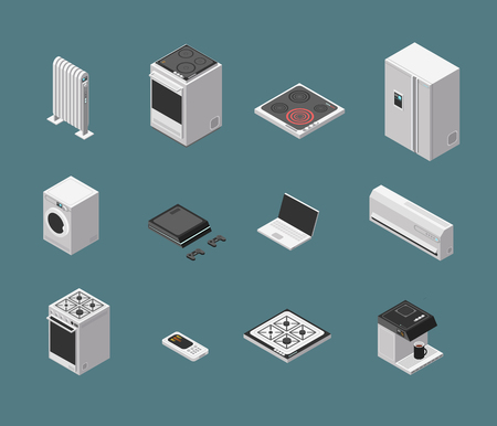 Isometric 3d household kitchen appliance and electrical equipment isolated vector set Illustration