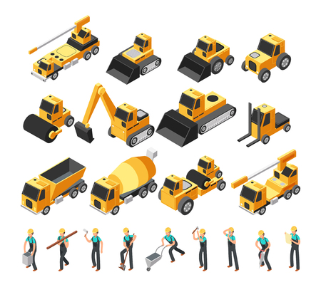 Isometric construction workers, building machinery and equipment 3d vector set Stock Illustratie