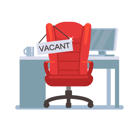 Empty office chair with vacant sign. Employment, vacancy and hiring job vector concept 일러스트