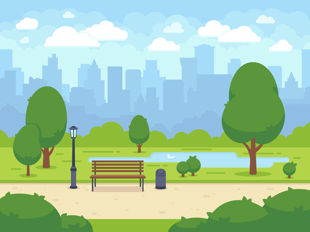 City summer park with green trees bench, walkway and lantern. Cartoon vector illustration 向量圖像