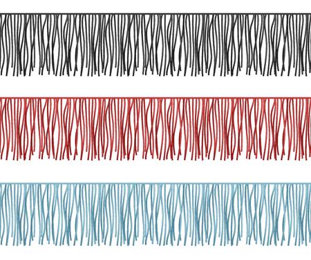 Ruffles edge, fringe seamless rows vector garments component