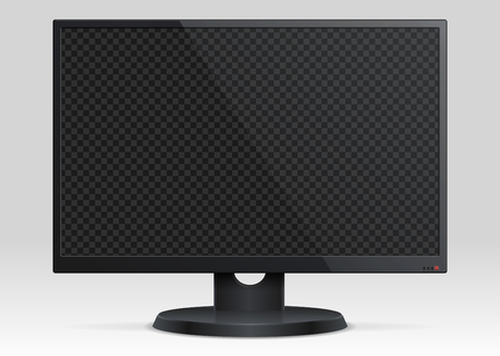 Empty computer lcd monitor with transparency screen 3d vector mockup