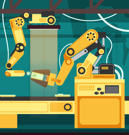 Manufacturing auto assembly line with robotic arms. Technology and engineering vector concept
