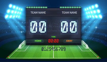 Stadium electronic sports scoreboard with soccer time and football match result display Standard-Bild - 97124347