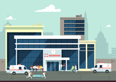 Accident and emergency hospital exterior Standard-Bild - 97147027