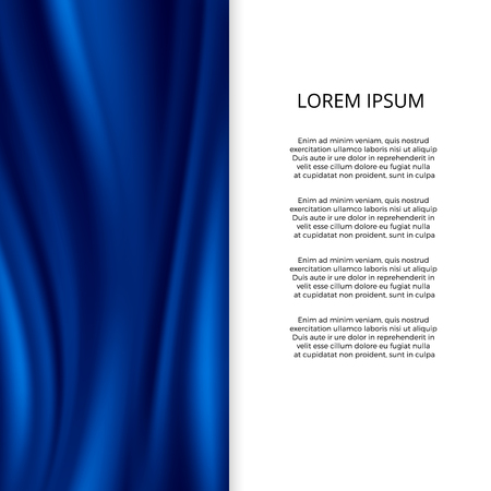 Blue silk, satin material wavy fashion banner template