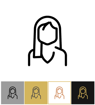 Woman icon, black office admin sign or consultant