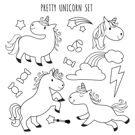 Kids coloring page. Unicorn set for coloring book