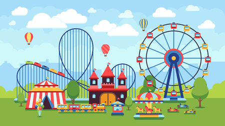 Cartoon amusement park with circus, carousels and roller coaster vector illustration
