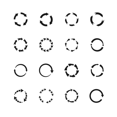 Round motion arrow vector symbols. Circle arrows icons