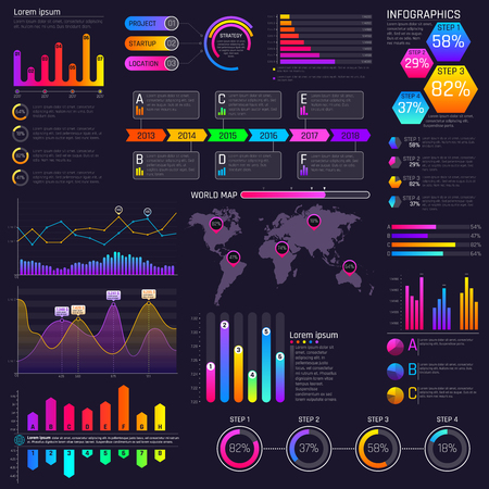 A Vector modern website dashboard infocharts with graphs and infographics elements Stock Illustratie