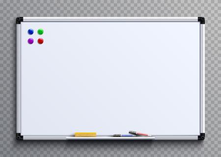 Pizarra vacía con rotuladores e imanes. Presentación de negocios oficina pizarra blanca maqueta vector aislado