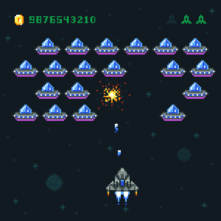 Retro arcade game screen with pixel invaders and spaceship. Space war computer 8 bit old vector graphics Illustration