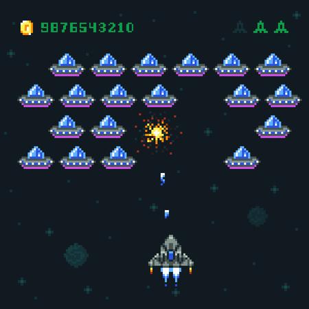 Retro ekran gry zręcznościowej z najeźdźcami pikseli i statkiem kosmicznym. Komputer wojny kosmicznej 8-bitowej starej grafiki wektorowej Ilustracje wektorowe