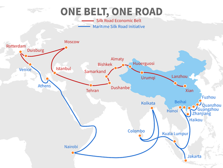 One belt - one road Chinese modern silk road. Economic transport way on world map vector illustration Stock fotó - 98137561