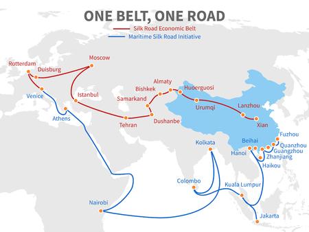Una cintura - una strada cinese moderna via della seta. Modo di trasporto economico sull'illustrazione di vettore della mappa di mondo