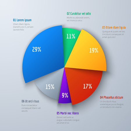 Business 3d pie info chart for presentation and office work. Infographic vector element