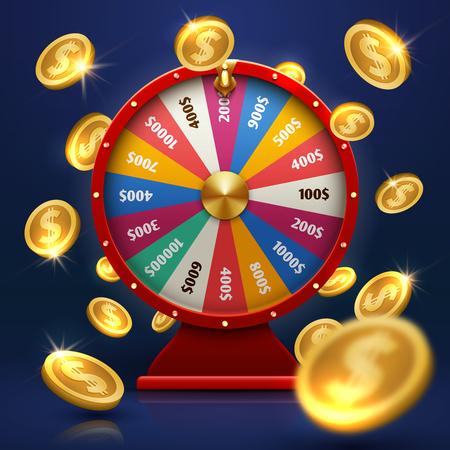 Fortuin wiel en gouden munten. Gelukkige kans op spel vectorachtergrond