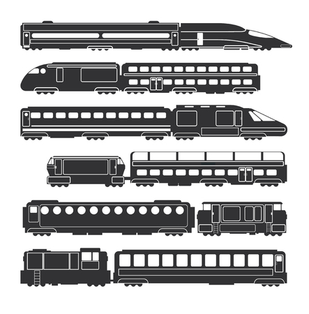 Trains and wagons black vector railway cargo and passenger transportation silhouettes