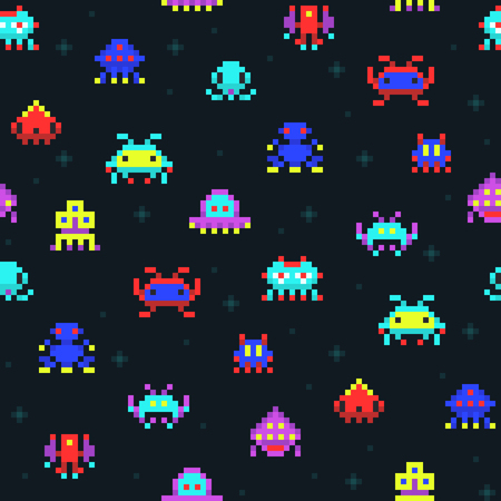 Cute pixel robots, space invaders retro video computer game seamless vector pattern Çizim
