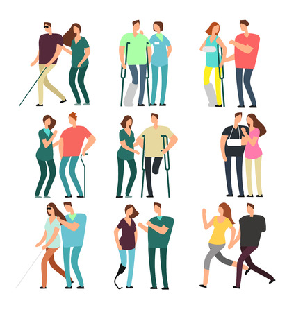 Disabled people with caring friends. Handicapped persons and medical assistants Illustration