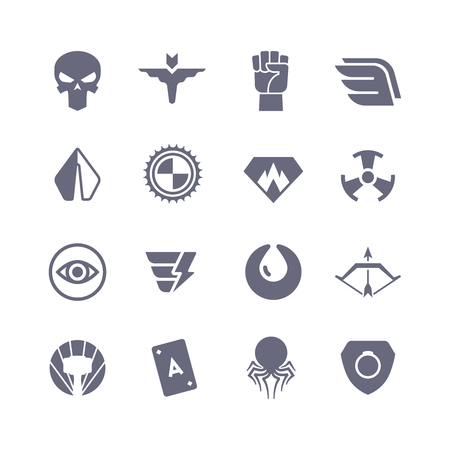 Superheroes vector icons. Super power superhero heroic symbols