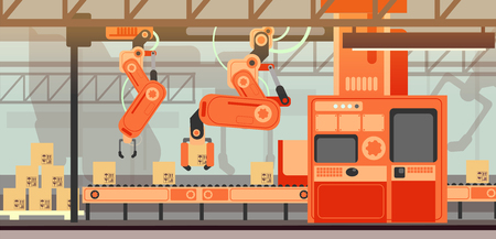 Abstract marketing vector concept with manufacturing assembly production line conveyor belt Ilustrace