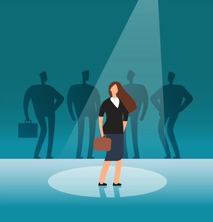 Talented businesswoman standing in searchlight. Recruitment, hiring, career and job opportunities vector concept