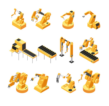 Industry robot machinery, mechanical arm isometric vector set